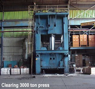 3000 ton Clearing 1971 stamping press with slides and moving bolster for sale