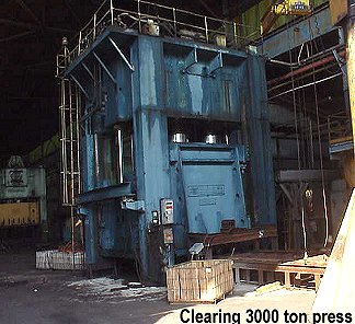 Rare 1971 Clearing 3000 ton spamping press in great condition for sale at liquidation price.