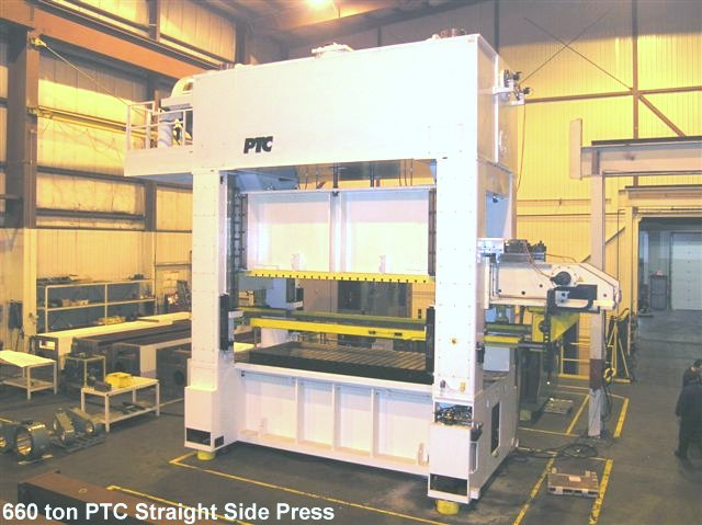 Canadian built PTC straight side 660 ton presses for sale.