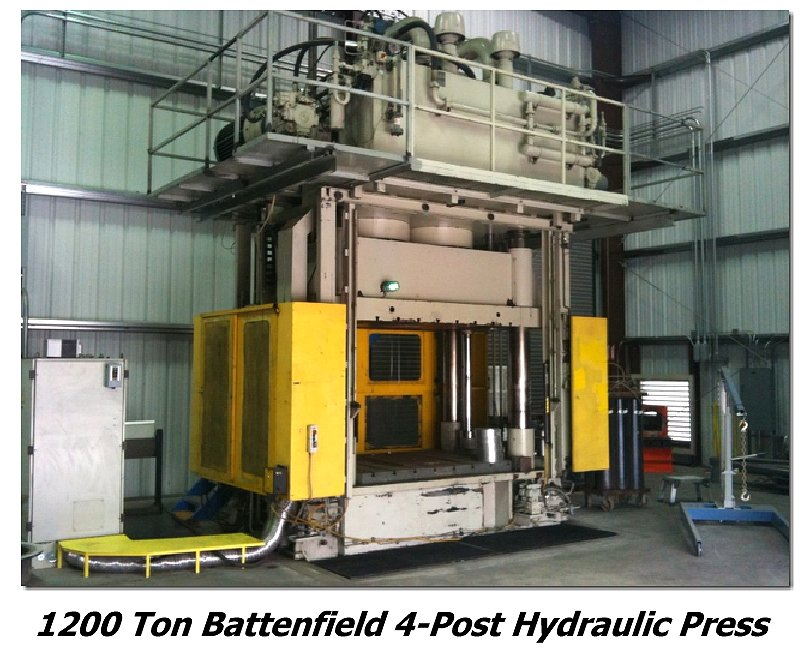 1200 Ton Battenfield 4-Post Hydraulic Press for sale at liquidation price