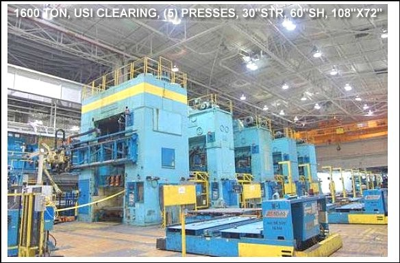 1600 TON, USI CLEARING PRESSLINE with (5) PRESSES and robotics