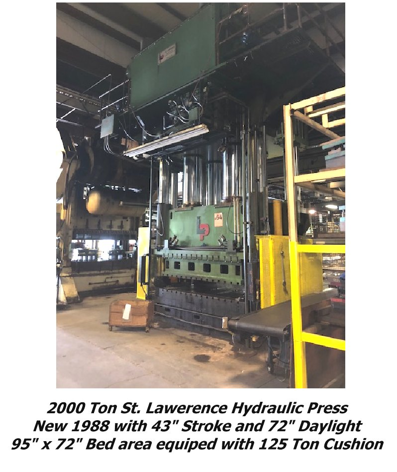 2000 Ton St. Lawerence Hydraulic Press for sale